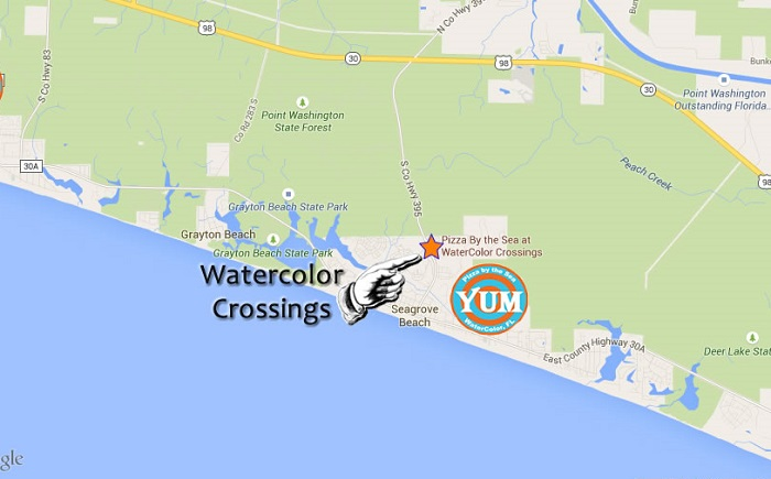 Watercolor Pizza by the Sea Location map Best Pizza and Italian food on 30A Santa Rosa Beach FL